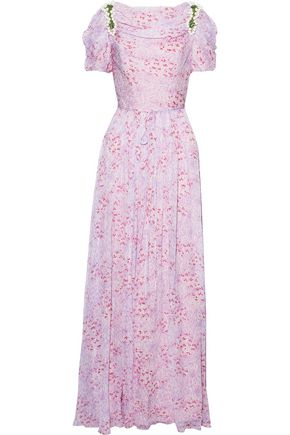 CAROLINA HERRERA Embellished printed silk-georgette gown
