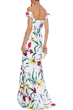 CAROLINA HERRERA Off-the-shoulder floral-print cotton-blend gown