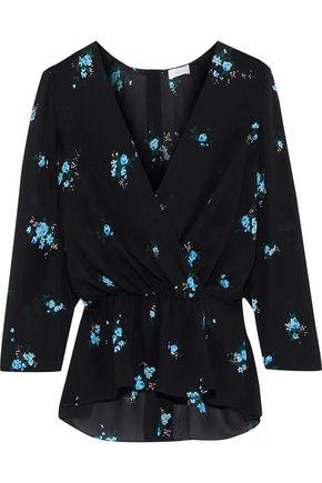 A.L.C. Rena wrap-effect floral-print silk peplum top