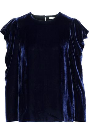 TIBI Gathered velvet top