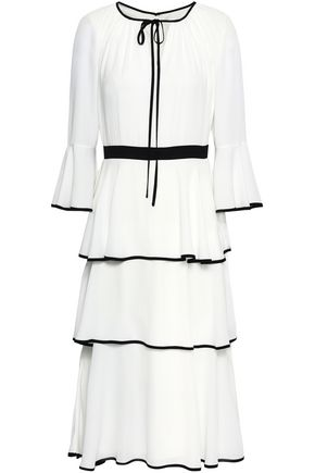 MIKAEL AGHAL Tiered crepe dress