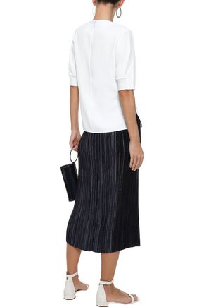 TIBI Lace-up textured-twill top