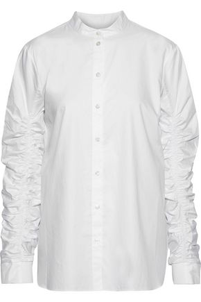 TIBI Ruched cotton-poplin shirt