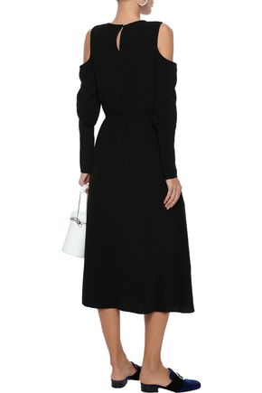 TIBI Cold-shoulder crepe midi dress