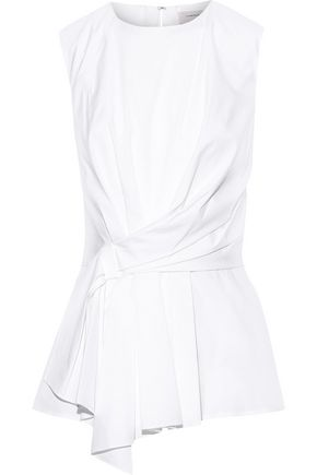 CAROLINA HERRERA Asymmetric knotted stretch-cotton poplin top