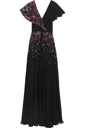 CAROLINA HERRERA Wrap-effect embellished silk-georgette gown