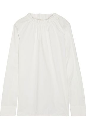 MARNI Gathered cotton-poplin blouse
