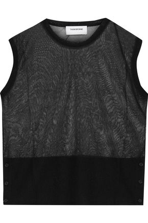 THOM BROWNE Button-detailed crocheted silk vest