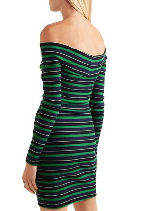OPENING CEREMONY Off-the-shoulder striped ribbed stretch-cotton mini dress