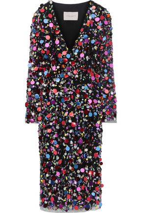 CAROLINA HERRERA Sequin-embellished tulle wrap dress