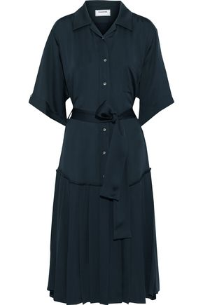 THOM BROWNE Belted pleated silk midi shirt dress