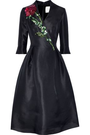 CAROLINA HERRERA Embellished silk-taffeta midi dress