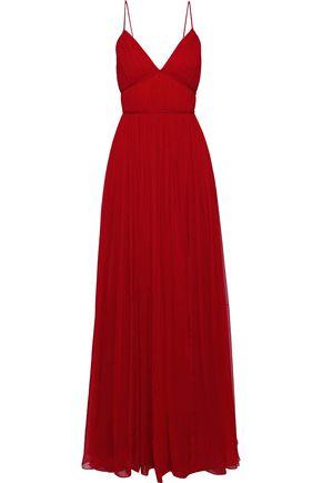 CAROLINA HERRERA Braid-trimmed pleated silk-gauze gown