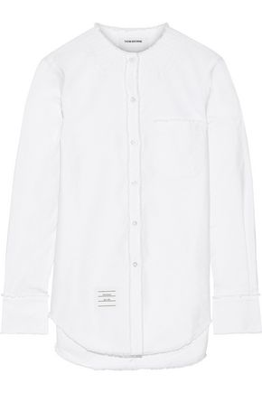 THOM BROWNE Embroidered frayed cotton-poplin shirt