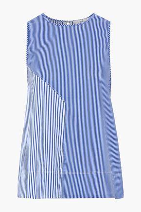 TIBI Striped cotton-blend poplin blouse