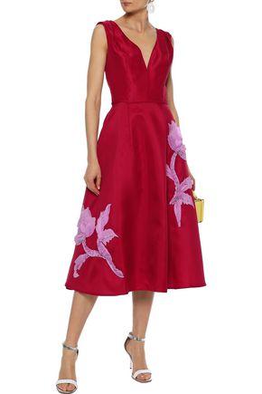 6b2834f68 CAROLINA HERRERA Flared floral-appliquéd silk-gazar midi dress