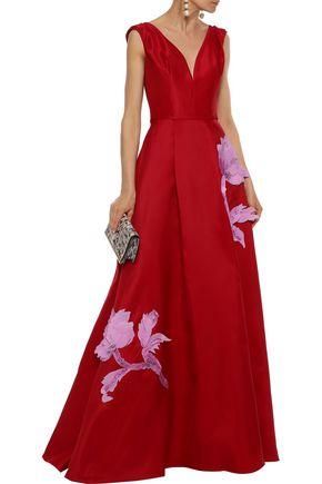 ead044bddfa8f CAROLINA HERRERA Pleated floral-appliquéd silk-taffeta gown