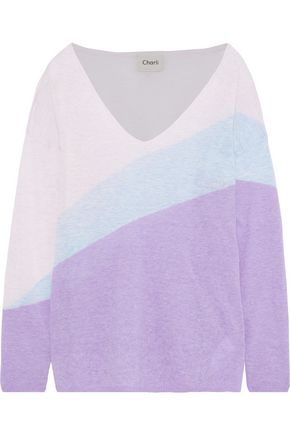 CHARLI Lavender color-block intarsia-knit sweater