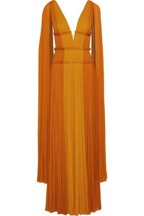 J.MENDEL Draped two-tone plissé silk-chiffon gown