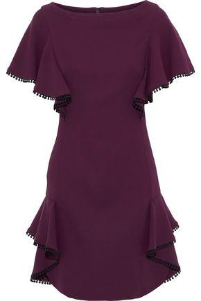 J.MENDEL Ruffled pompom-embellished silk-cady mini dress