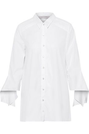 CAROLINA HERRERA Tie-detailed stretch-cotton poplin shirt