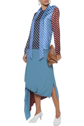 TIBI Draped striped color-block silk-twill top