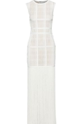 HERVÉ LÉGER Fringed ribbed-knit maxi dress