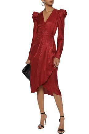 A.L.C. Carolina silk-jacquard midi wrap dress