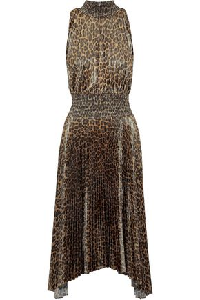 A.L.C. Pleated leopard-print satin midi dress