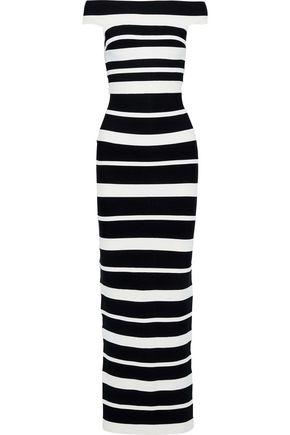 HERVÉ LÉGER Off-the-shoulder striped bandage gown