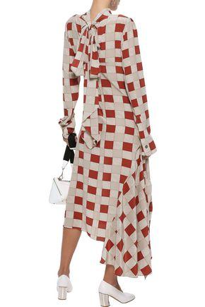 MARNI Asymmetric checked silk midi dress