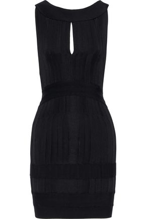 HERVÉ LÉGER Open-back pintucked bandage mini dress