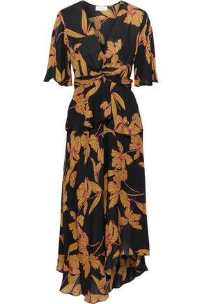 A.L.C. Avi twist-front printed silk crepe de chine peplum midi dress