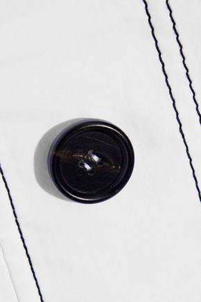 MARNI Asymmetric button-embellished cotton-poplin top