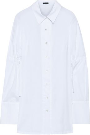 ANN DEMEULEMEESTER Tie-back ruched cotton shirt