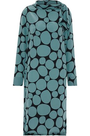 MARNI Tie-neck printed silk crepe de chine dress