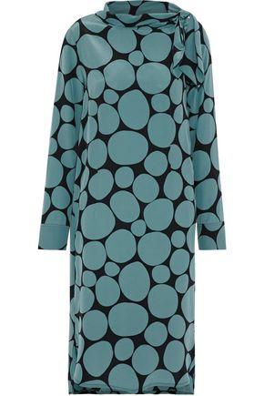 MARNI Tie-neck printed silk crepe de chine dress
