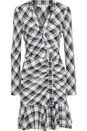 VERONICA BEARD Rowe ruched checked crepe mini dress