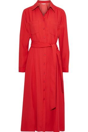 VERONICA BEARD Cary belted crepe midi shirt dress