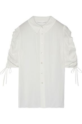 VERONICA BEARD Carmine ruched silk shirt