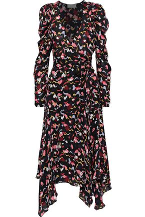 A.L.C. Tianna printed silk midi wrap dress