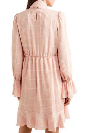 SEE BY CHLOÉ Tie-neck asymmetric plissé-crepe dress