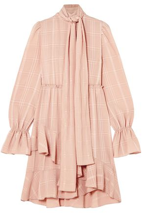 SEE BY CHLOÉ Tie-neck asymmetric plissé-crepe dress