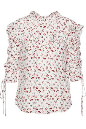 VERONICA BEARD Howell ruffled ruched floral-print washed-silk blouse