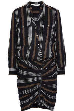 VERONICA BEARD Emory ruched striped cotton-blend gauze dress