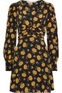 VERONICA BEARD Marion ruched floral-print washed-silk mini dress