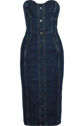 VERONICA BEARD Liza strapless button-embellished denim dress