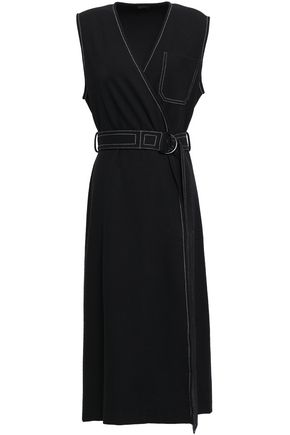 JOSEPH Belted jersey midi wrap dress