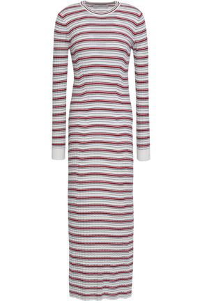 PRINGLE OF SCOTLAND Striped ribbed merino wool maxi dress