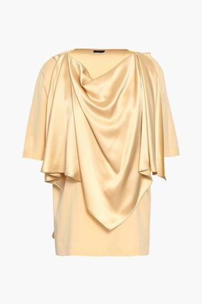 JOSEPH Satin-draped cotton-jersey T-shirt